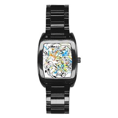 Abstract Fun Design Stainless Steel Barrel Watch
