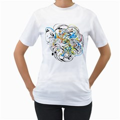 Abstract Fun Design Women s T-Shirt (White)
