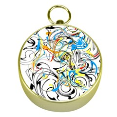 Abstract Fun Design Gold Compasses