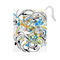 Abstract Fun Design Drawstring Pouches (Large)