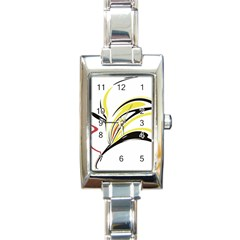 Abstract Flower Design Rectangle Italian Charm Watches