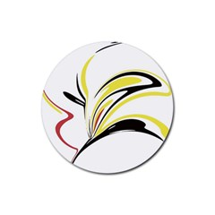 Abstract Flower Design Rubber Round Coaster (4 Pack)