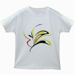 Abstract Flower Design Kids White T Shirts