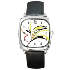 Abstract Flower Design Square Metal Watches