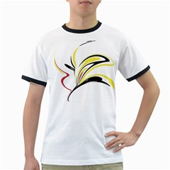 Abstract Flower Design Ringer T-Shirts