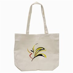 Abstract Flower Design Tote Bag (cream)