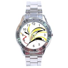 Abstract Flower Design Stainless Steel Men s Watch