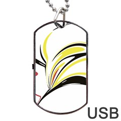 Abstract Flower Design Dog Tag USB Flash (One Side)