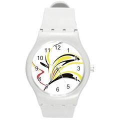 Abstract Flower Design Round Plastic Sport Watch (m)