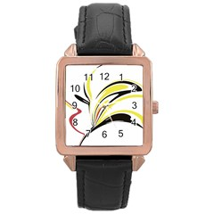 Abstract Flower Design Rose Gold Watches