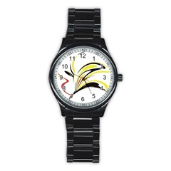 Abstract Flower Design Stainless Steel Round Watches
