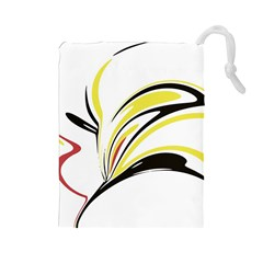 Abstract Flower Design Drawstring Pouches (large)