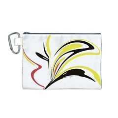 Abstract Flower Design Canvas Cosmetic Bag (M)