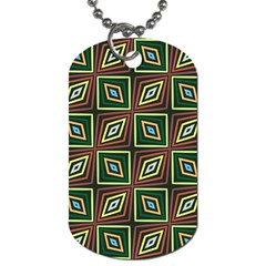 Rhombus Flowers Pattern Dog Tag (two Sides)