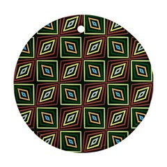 Rhombus Flowers Pattern Round Ornament (two Sides)