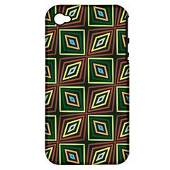 Rhombus Flowers Pattern Apple Iphone 4/4s Hardshell Case (pc+silicone)