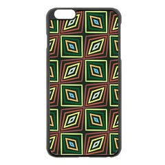 Rhombus Flowers Pattern Apple Iphone 6 Plus Black Enamel Case