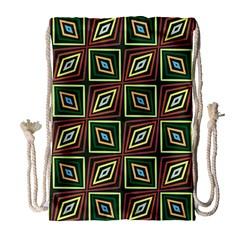 Rhombus Flowers Pattern Large Drawstring Bag