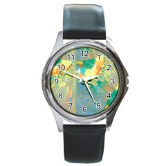 Abstract Flower Design In Turquoise And Yellows Round Metal Watches
