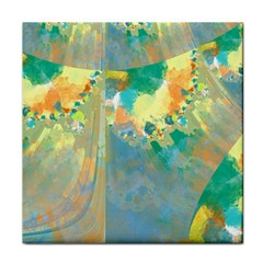 Abstract Flower Design in Turquoise and Yellows Tile Coasters