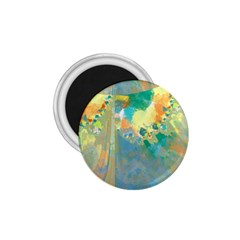 Abstract Flower Design In Turquoise And Yellows 1 75  Magnets