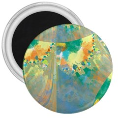 Abstract Flower Design In Turquoise And Yellows 3  Magnets