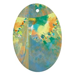 Abstract Flower Design In Turquoise And Yellows Ornament (oval)