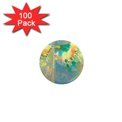 Abstract Flower Design In Turquoise And Yellows 1  Mini Magnets (100 Pack)