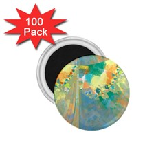 Abstract Flower Design In Turquoise And Yellows 1 75  Magnets (100 Pack)