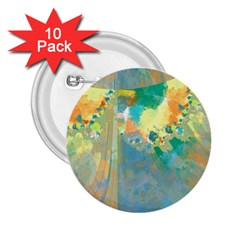Abstract Flower Design in Turquoise and Yellows 2.25  Buttons (10 pack)