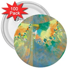 Abstract Flower Design In Turquoise And Yellows 3  Buttons (100 Pack)