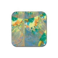 Abstract Flower Design in Turquoise and Yellows Rubber Coaster (Square)