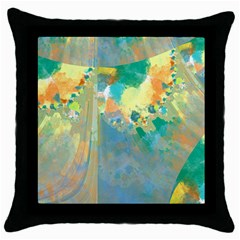 Abstract Flower Design in Turquoise and Yellows Throw Pillow Cases (Black)