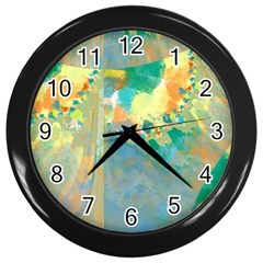 Abstract Flower Design in Turquoise and Yellows Wall Clocks (Black)