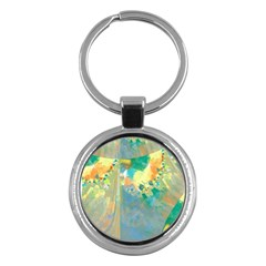 Abstract Flower Design in Turquoise and Yellows Key Chains (Round)