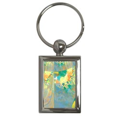 Abstract Flower Design in Turquoise and Yellows Key Chains (Rectangle)