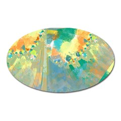 Abstract Flower Design In Turquoise And Yellows Oval Magnet