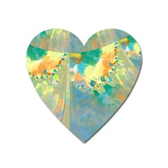 Abstract Flower Design in Turquoise and Yellows Heart Magnet