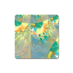 Abstract Flower Design in Turquoise and Yellows Square Magnet