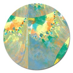 Abstract Flower Design In Turquoise And Yellows Magnet 5  (round)