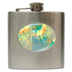 Abstract Flower Design In Turquoise And Yellows Hip Flask (6 Oz)