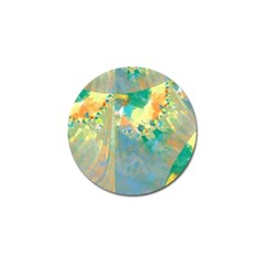 Abstract Flower Design In Turquoise And Yellows Golf Ball Marker