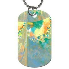 Abstract Flower Design in Turquoise and Yellows Dog Tag (Two Sides)