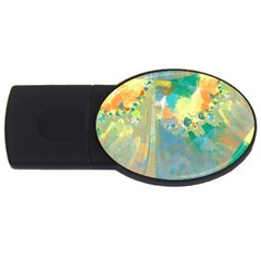 Abstract Flower Design In Turquoise And Yellows Usb Flash Drive Oval (2 Gb)