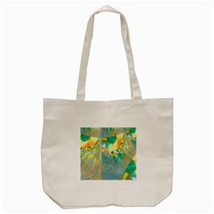 Abstract Flower Design In Turquoise And Yellows Tote Bag (cream)