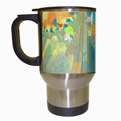 Abstract Flower Design In Turquoise And Yellows Travel Mugs (white)