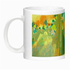 Abstract Flower Design In Turquoise And Yellows Night Luminous Mugs