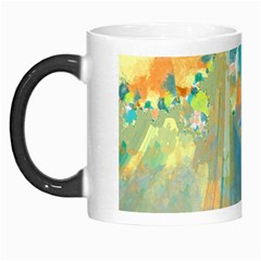 Abstract Flower Design In Turquoise And Yellows Morph Mugs