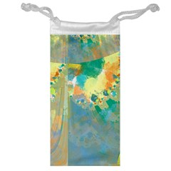 Abstract Flower Design in Turquoise and Yellows Jewelry Bags