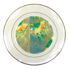 Abstract Flower Design In Turquoise And Yellows Porcelain Plates